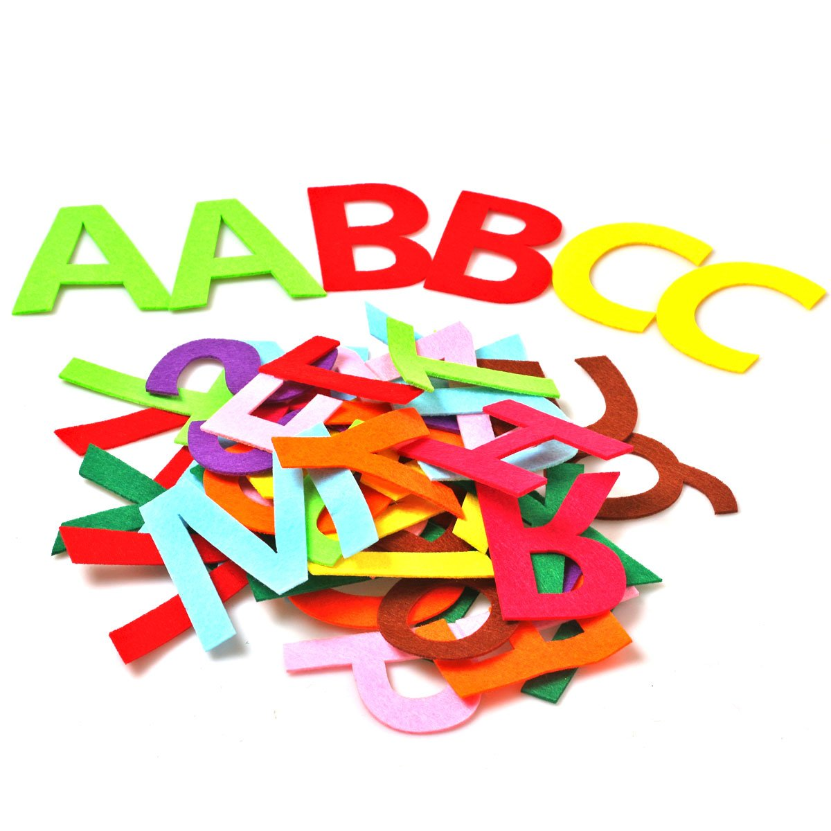 RERIVER 3.2-Inch Felt Alphabet Letters 52Pcs A to Z Assorted Colors Fabric ABCs for DIY Craft Kids'Toys Christmas Birthday Party Decoration