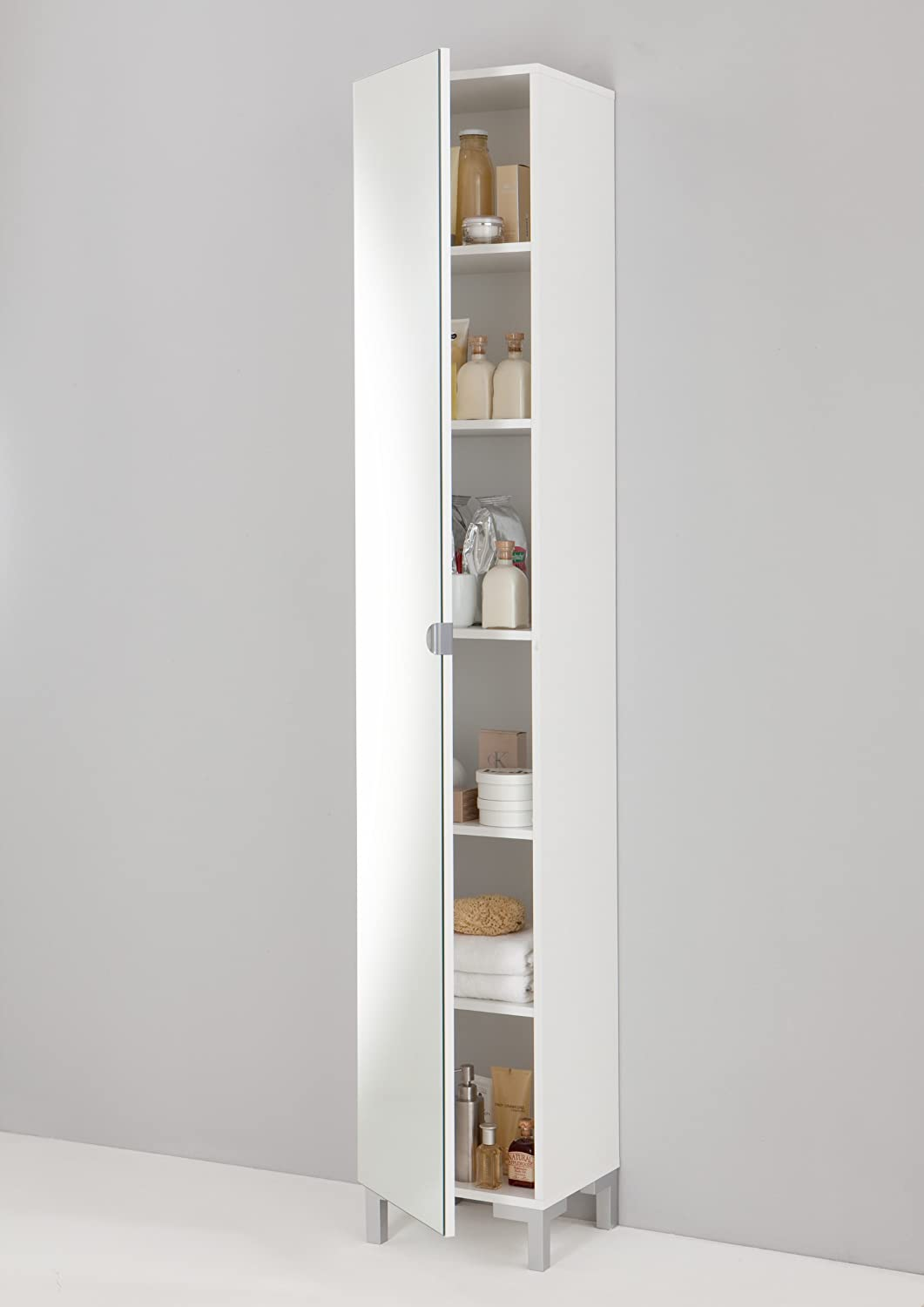 GermanicaTM TARRA Floor Standing Tall Cabinet Tallboy In White Finish With Mirror Door Amazoncouk Kitchen Home