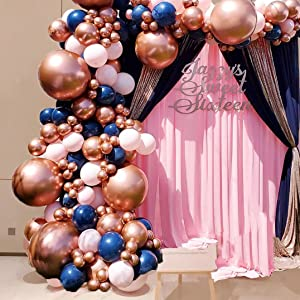 Navy Pink Balloon Arch Blue Rose Gold Metallic Balloons Garland Kit 115pcs Latex Pastel Party Balloons for Baby Shower Birthday Bachelorette Wedding Graduation Party Decor