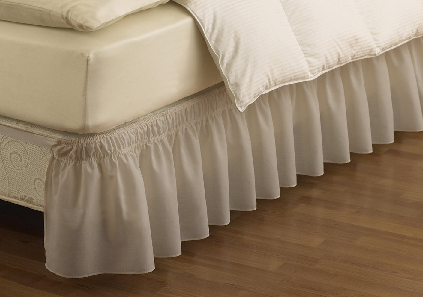 Ivory Ellery Homestyles Easy Fit 11577QUEEN//KINGIV Wrap Around Solid Ruffled Queen//King Bed Skirt 80-Inch by 60-Inch with 18-Inch drop