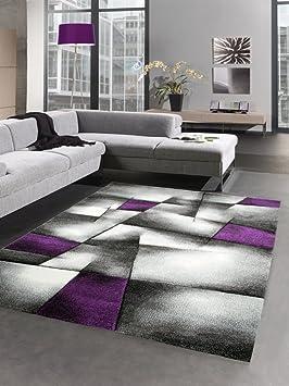 Modern Tapis Poil Ras Tapis de Salon résumé Karo Noir Gris Blanc Violet  (160x230 cm)
