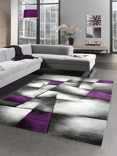 Modern Tapis Poil Ras Tapis de Salon résumé Karo Noir Gris Blanc Violet  (60x110 cm)