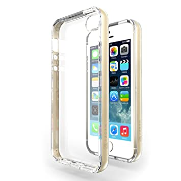 Funda iPhone SE / 5S / 5 - Azorm Hybrid Edition Oro - Bumper con Efecto Metálico, Transparente, Resistente a los arañazos en su parte trasera, ...
