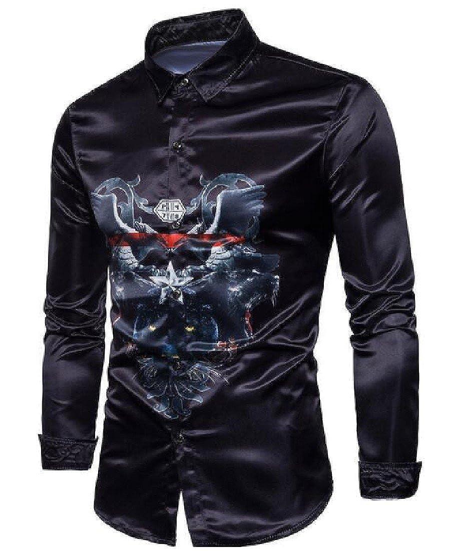 Ruhua Mens Wild Turn Down Collar Buttoned Floral Printed Work Shirt