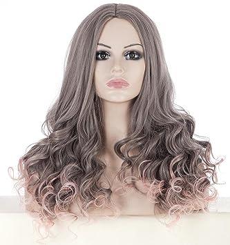 GAIHU Onda larga de moda rizado Ombre gris a rosa peluca para mujer oriente partiendo dos