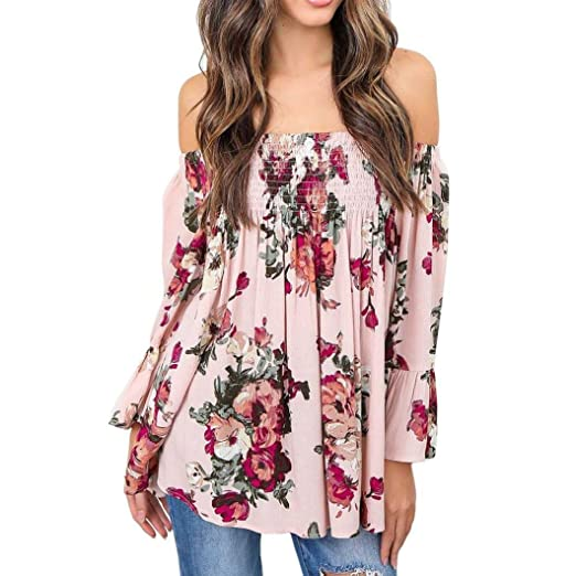 39844590fb91f NREALY Sexy Fashion Women Floral Print Tops Off Shoulder Flare Sleeve Shirt  Blouse Pink(Pink