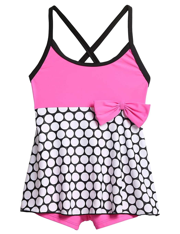 SimpleFun Kids Girls Swimdress One Piece Swimwear Polka Dot Tankini Bathing Suit