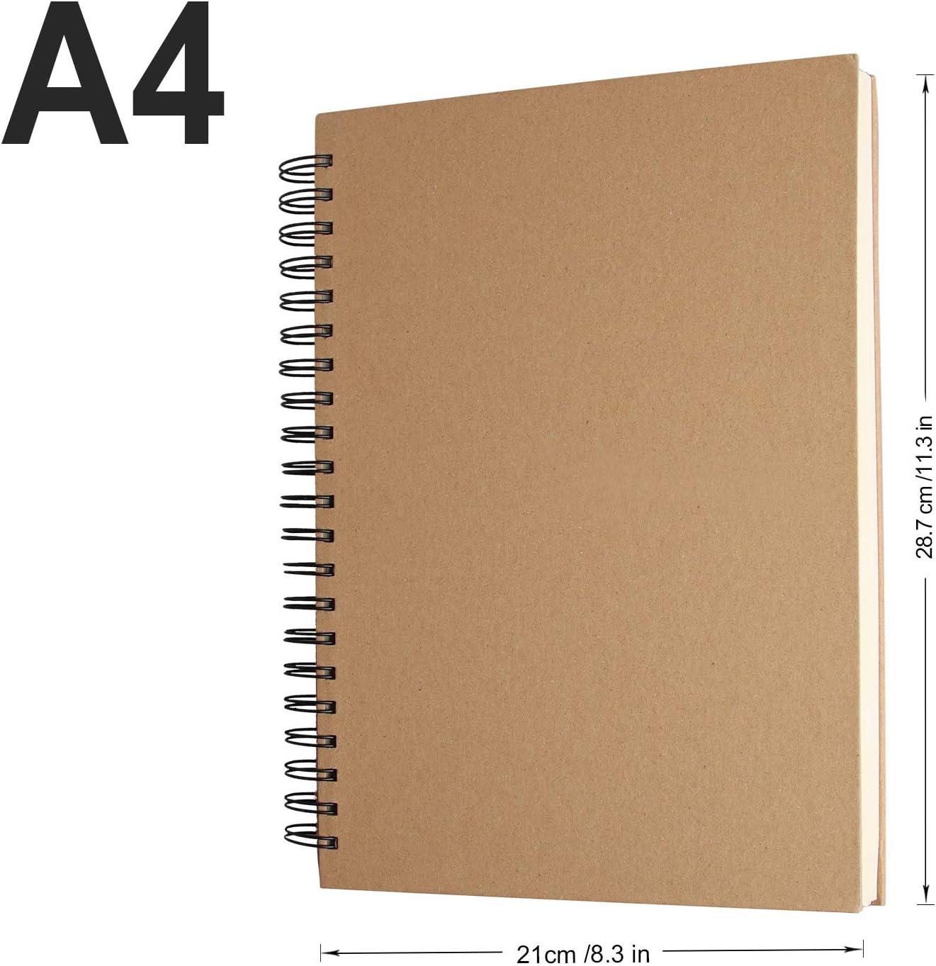 NOBRANDED Album per Schizzi Quaderno da Disegno Spiralati Adatto per Adulti e Bambini 120 Pagine 110 g//m/² Tecniche di Asciugatura per Principianti ed Esperti Quaderno A4 in Carta Priva di Acidi