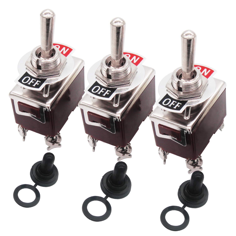 3pcs Heavy Duty Rocker Toggle Switch 15A 250V 20A 125V DPST 4 Pin ON/Off Switch Metal + 3pcs Waterproof Cover 2 Years Warranty Ten-1221