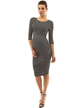 37a95ddc024ad PattyBoutik Mama Striped Elbow Sleeve Maternity Dress (Black and White S)