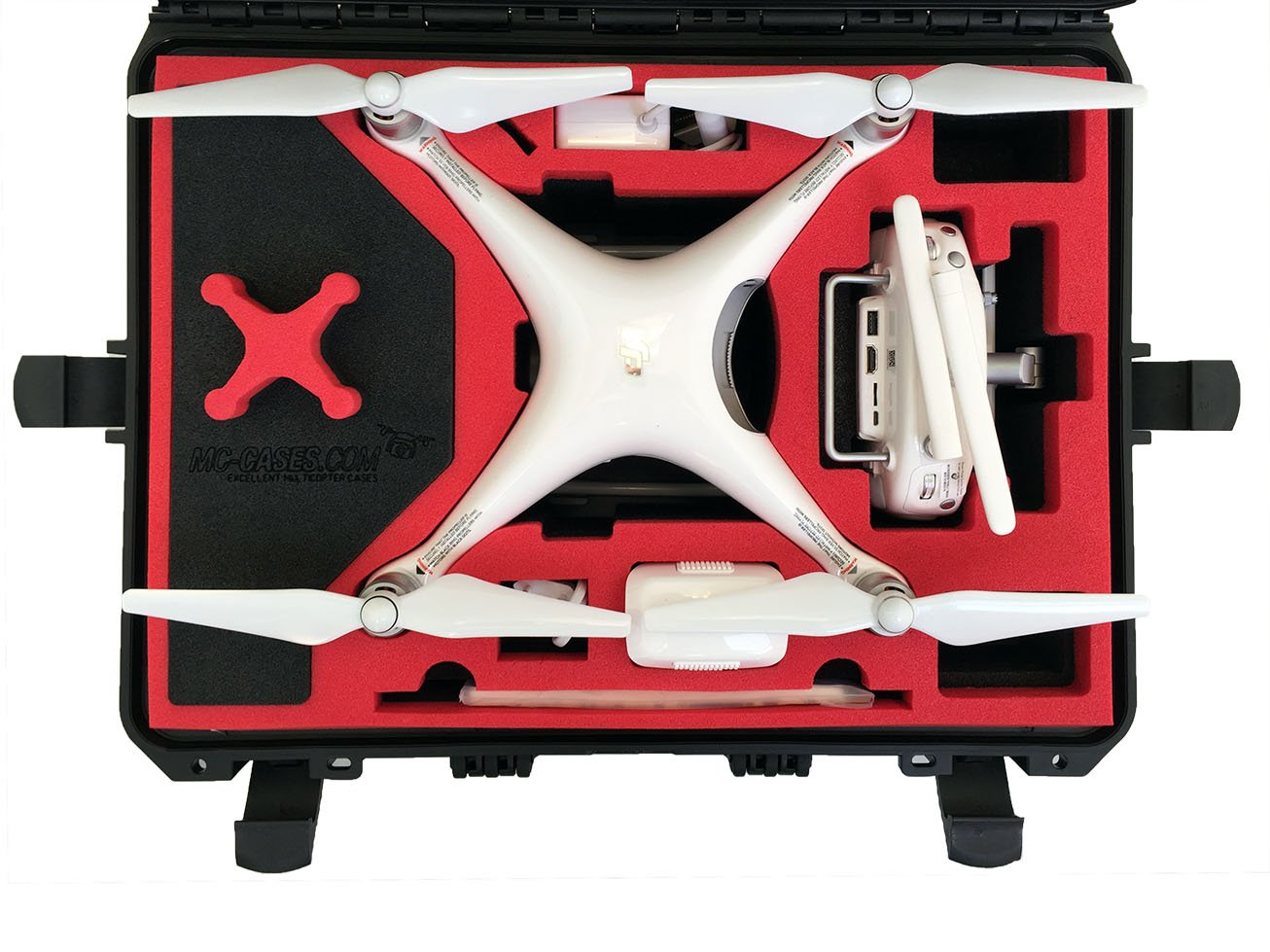 Professional Carrying Case from MC-Cases fits for DJI Phantom 4 pro and professional plus with attached propellers and space for 6 batteries by mc-cases (Image #1)