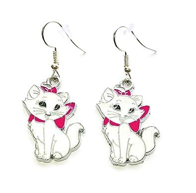 23ecc26889b15 Disney inspired Aristocats Marie Cat Kitty Charm Cartoon Character Dangle  Hook Earrings With Gift Box