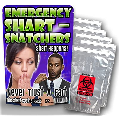 Emergency Shart Snatchers – 5 Pack – Funny Gag Gifts – Silly Gifts – Biohazard Bags – Gifts for Teens – Silly Stocking Stuffers - Funny Butt Gifts: Toys & Games