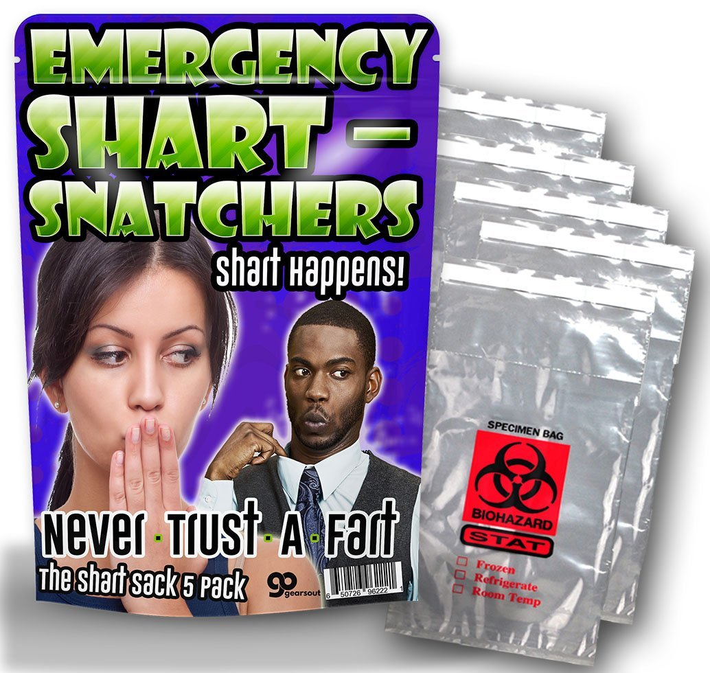 Silly Stocking Stuffers 5 Pack Funny Gag Gifts Funny Butt Gifts Gears Out Emergency Shart Snatchers Silly Gifts Biohazard Bags Gifts for Teens