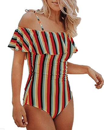 6ca4db2a1474c MNLYBABY Women s Sexy Striped Ruffle Off The Shoulder One-Piece Swimwear  Swimsuit Size L(