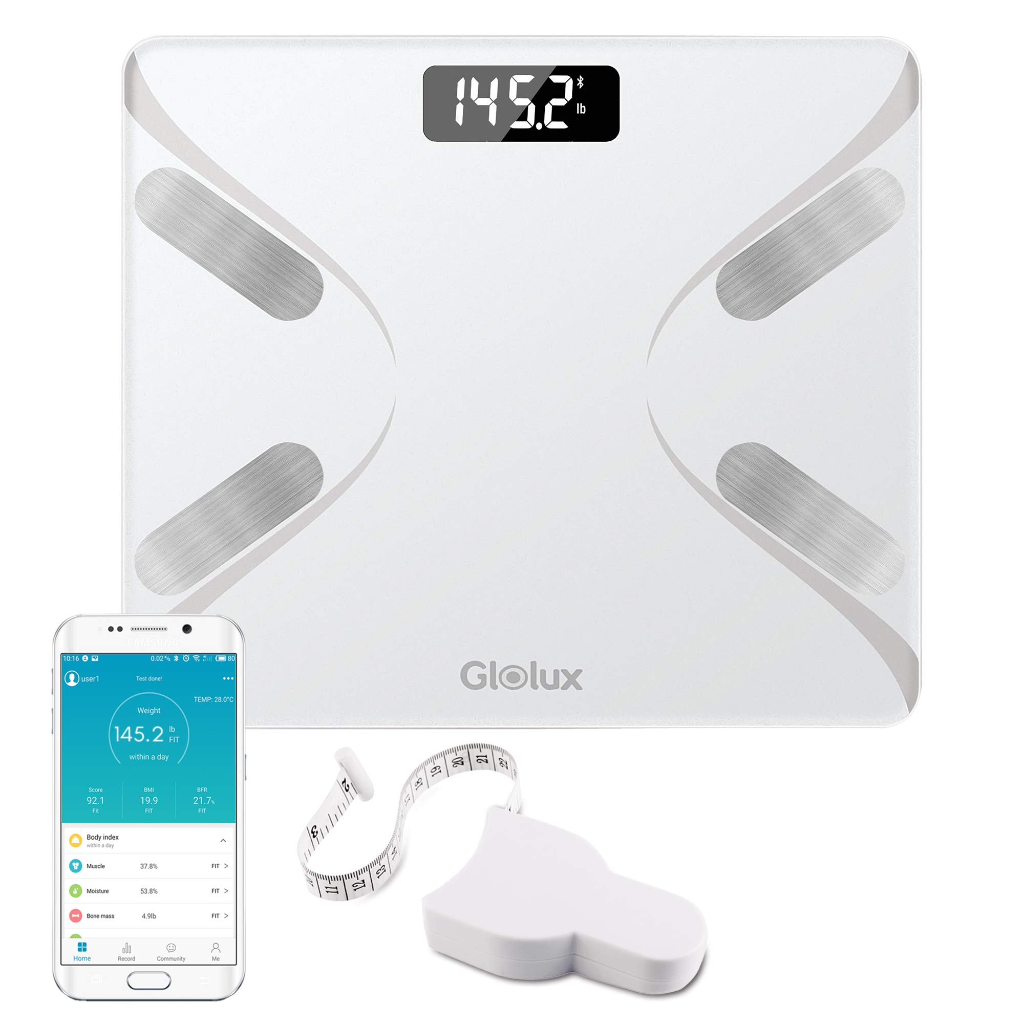 Glolux Smart Digital Weight and Body Fat Scale Bathroom Scale Body Fat and Composition Analyzer with Retractable Body Measuring Tape