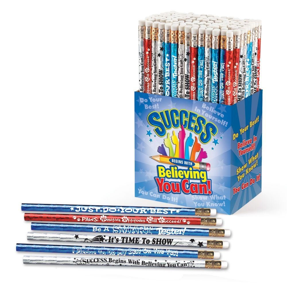 Test-Taking: Success Begins With Believing You Can 150-Piece Sparkle Foil Pencil Assortment Pack- Includes A Variety of Motivational Test-Taking Themes
