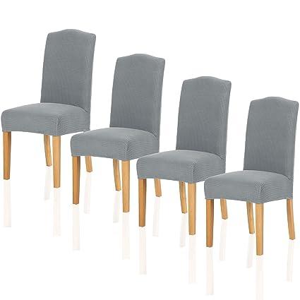 TIANSHU Fundas para sillas Pack de 4,Poliéster Elástica Fundas sillas Duradera Modern Bouquet de la Boda Hotel Decor Restaurante(Pack de 4,Gris Claro)