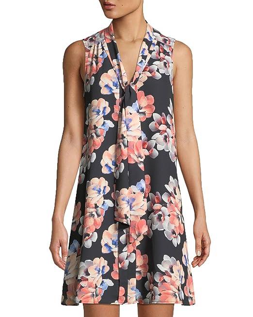 2d2894821c9e8 C&E Cece Floral Tie Neck Swing Dress (Rich Black, 2): Amazon.ca ...