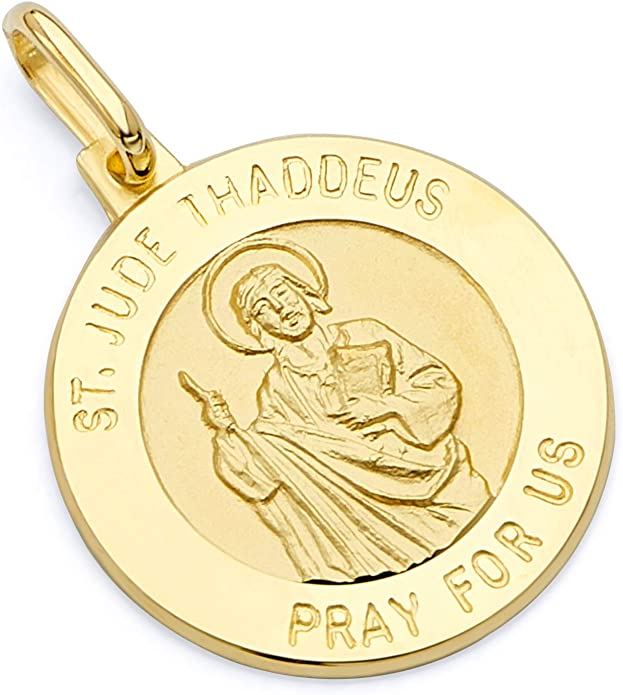 Jude Thaddeus Medal Pendant Religious Charm 14k Polished and Satin St