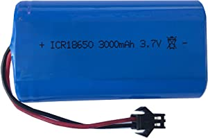 3.7V 3000mAh ICR18650 Rechargeable Battery Pack with SM 2P Plug