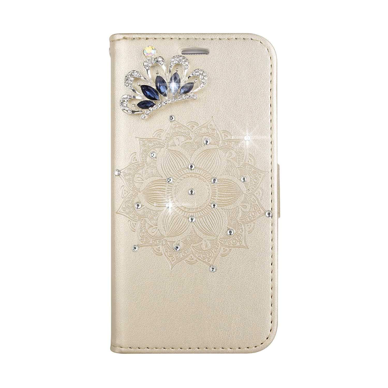 Bear Village® Coque LG G4, Magnétique Stand Étui en Cuir avec Dragonne Amovible, Antichoc Portefeuille Housse à Rabat pour LG G4, Or