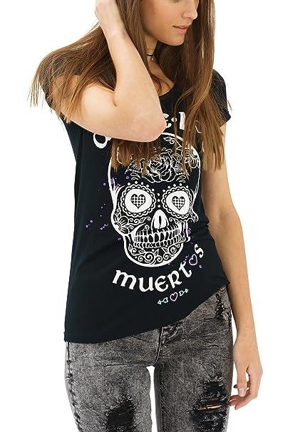 trueprodigy Casual Mujer Marca Camiseta Estampado Ropa Retro Vintage Rock Vestir Moda Cuello Redondo Manga Corta