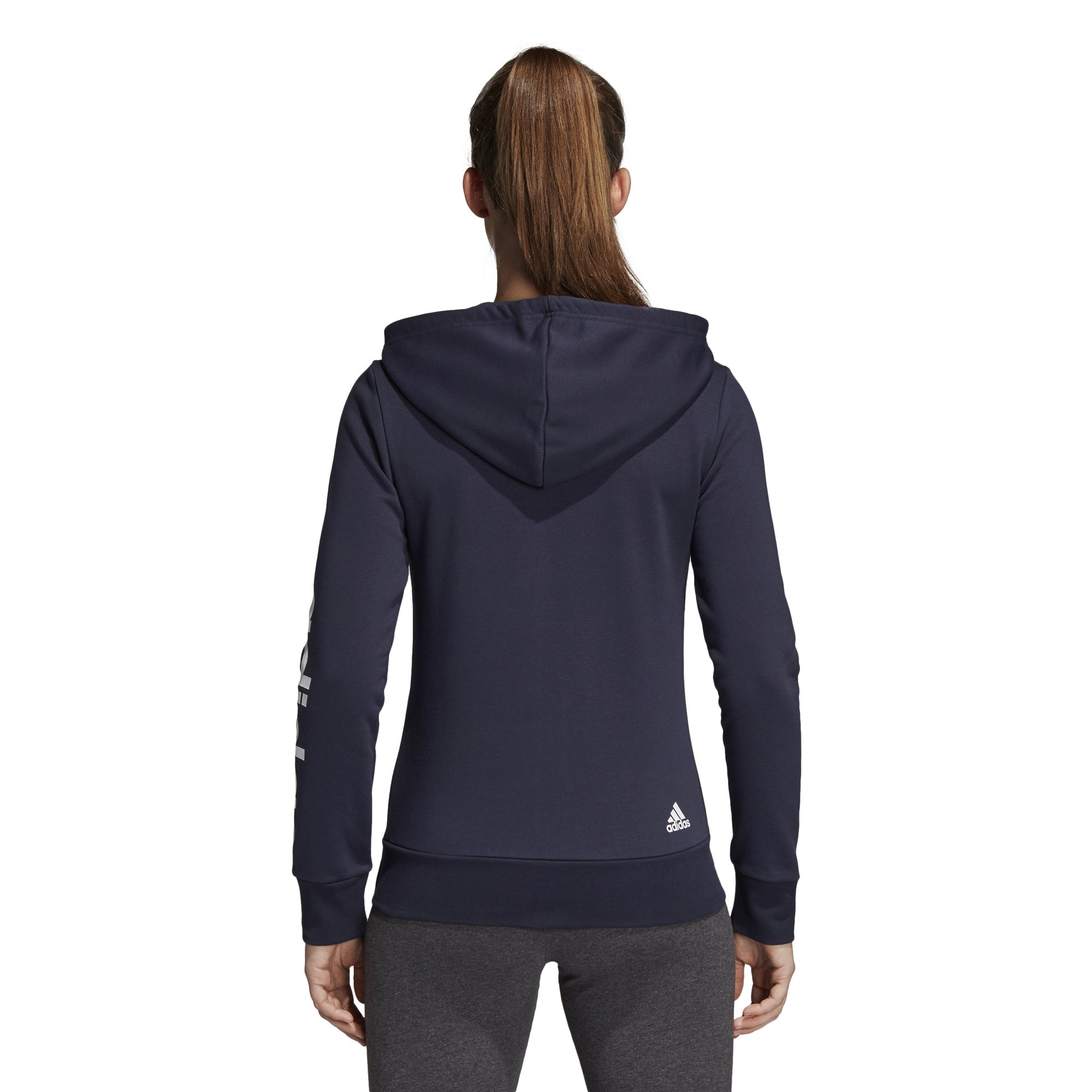 adidas Women's Essentials Linear Full Zip Hoodie Legend Ink/White X-Small by adidas (Image #6)