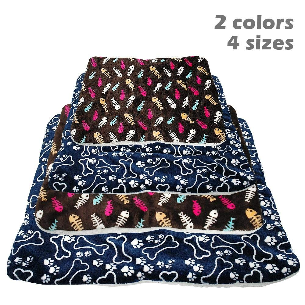 Amazon.com : MHGStore Dog Bed Mat Pet Cushion Blanket Warm Paw Print Puppy Cat Fleece Beds for Small Large Dogs Cats Pad Chihuahua Cama Perro (59x46cm, ...