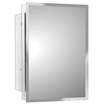 Mirrors And More Recessed Frameless Beveled Polished Edge Mirror Medicine Cabinet Fixed Shelf Bathroom Kitchen 16 X 22
