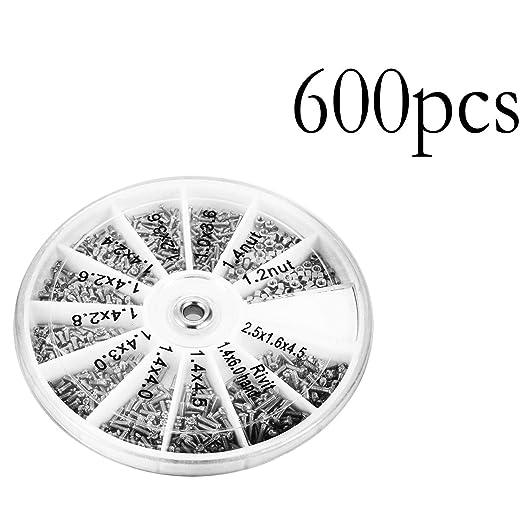 600pcs Set Small 12 Kinds Of Screw Nut /& Round Plastic Box Tool Kit M1 M1.2 M1.4