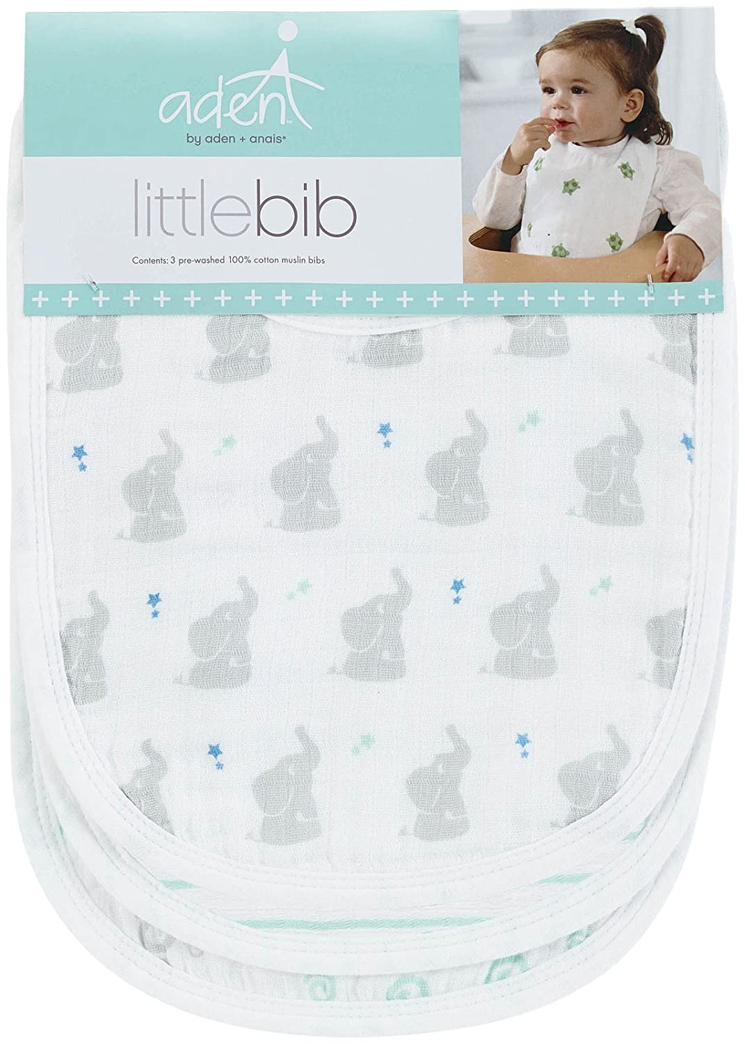 """10039c64 Amazon.com: aden by aden + anais Snap Bib, 100% Cotton Muslin, Soft  Absorbent 3 Layers, Adjustable, 9"""" X 13"""", 3 Pack, Baby Star: Baby"""