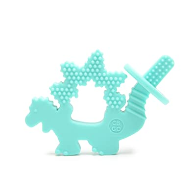 CB GO by Chewbeads Baby 100% Silicone Chewpal (Teether with Training Brush) - Dinosaur : Baby