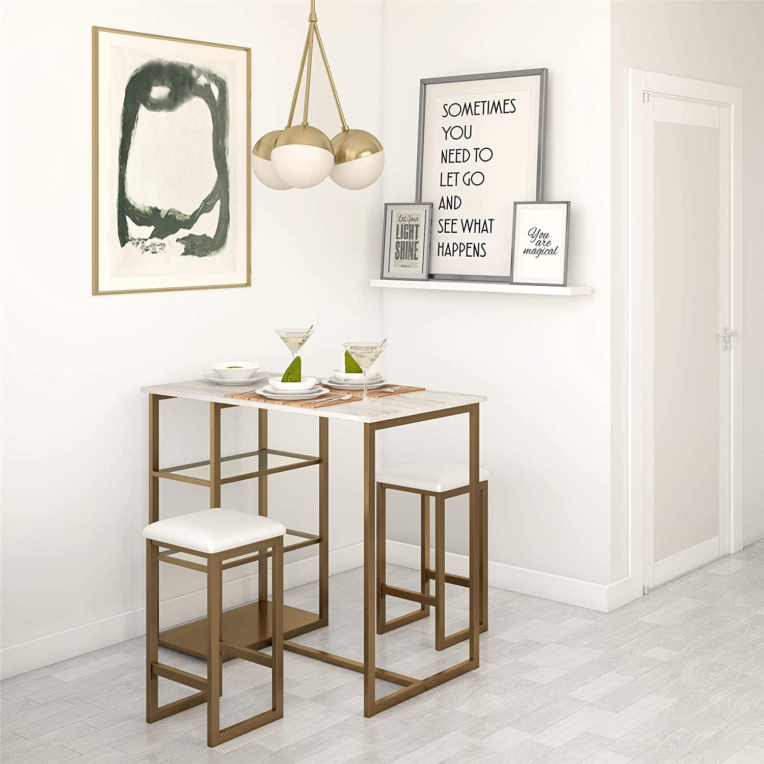Dorel Living Tanner 3-Piece Brass Pub Set with Faux Marble Top, White