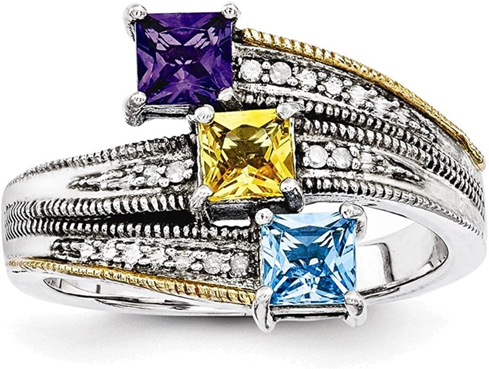 Sterling Silver /& 14k Three-stone and Diamond Mothers Pendant Semi-Mount