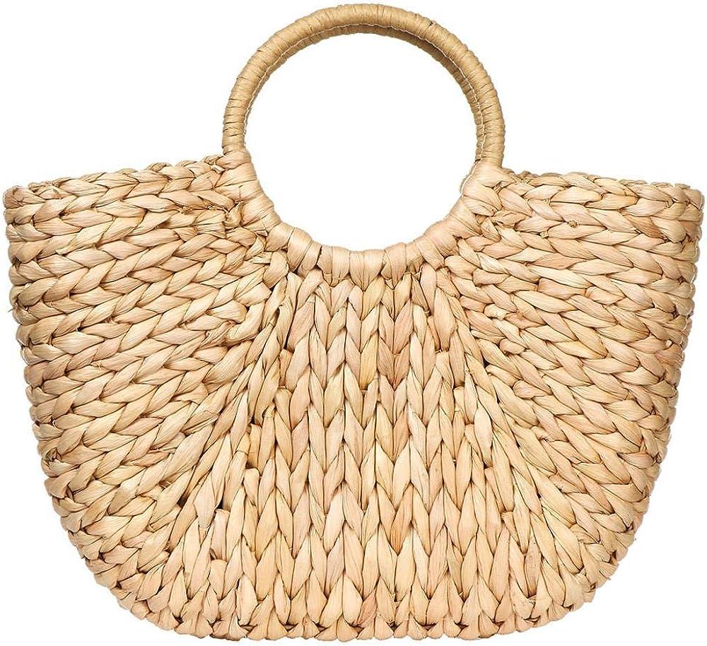 Summer Rattan Bag for Women Straw Hand-woven Top-handle Handbag Beach Sea Straw Rattan Tote Clutch Bags