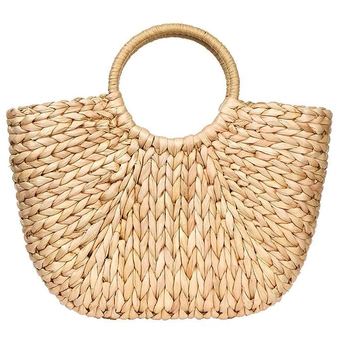 Amazon.com: Bolsa de verano de ratán para mujer, tejido a ...