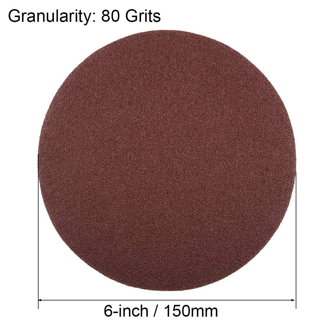 Sourcing map Assortiment de disques abrasifs PSA 80//100//120//180//240//400 Grain adh/ésif Feuilles abrasives en oxyde daluminium pour ponceuse orbitale