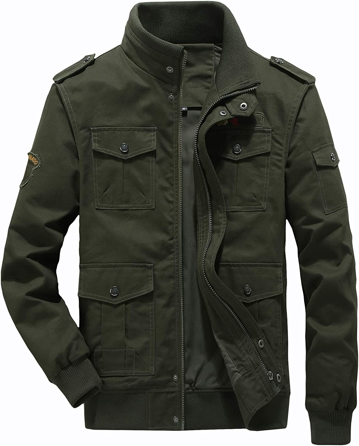 60s 70s Men's Jackets & Sweaters LABEYZON Mens Outdoor Casual Cotton Bomber Jacket Tactical Cargo Windbreaker Military Jacket Men $39.98 AT vintagedancer.com