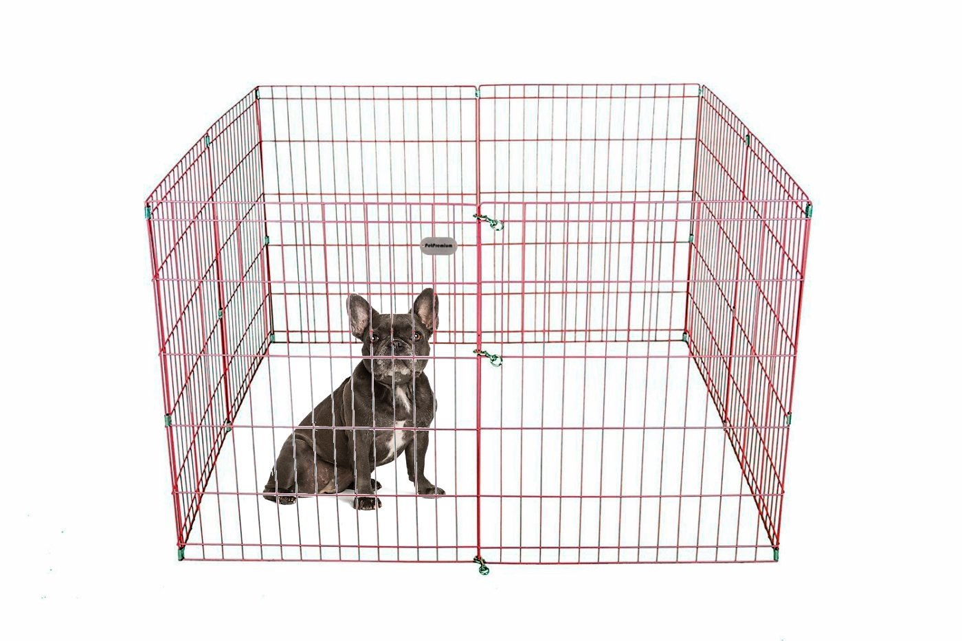 PetPremium Dog Puppy Playpen Pen | Indoor Outdoor Exercise Play Yard Outside | Pet Small Animal Puppies Portable Foldable Fence Enclosures | 30'' Height, 8 Panel Metal Wire, Pink
