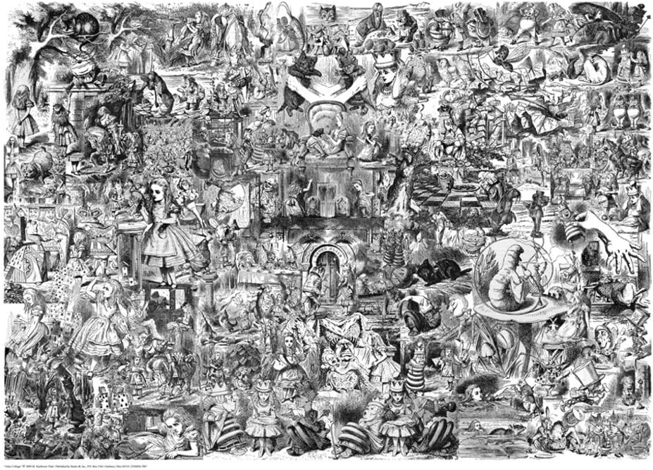 bobs cheese sause Alice In Wonderland Poster Black And White Collage