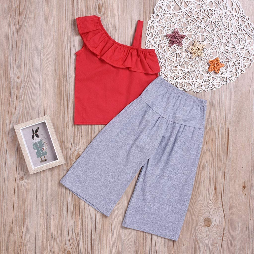 Baby Outfits,Infant Girls Straps Ruffle Overlay Sling Tops+Soild Color Pants Set,SIN vimklo,2-7Years