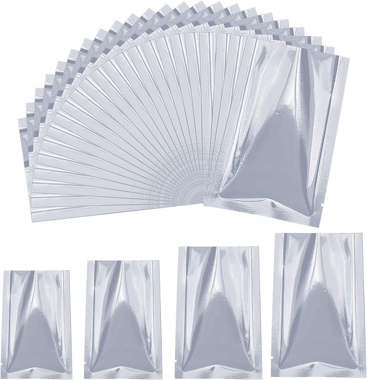40 Pcs Mylar Aluminum Foil Bags, Metallic Mylar Foil Flat Heat Sealable Bags, 4 Sizes Long Term Storage Bags Pouch for Food Coffee Tea Beans