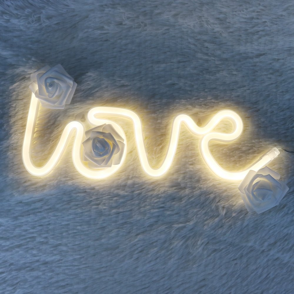 DELICORE Decorative LED Love Shaped Neon Night Light with Warm White Lamp-Neon Night Light Operated by Battery/USB for Children's Room Party Christmas Wedding Decoration by DELICORE (Image #3)