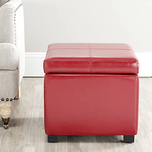 Safavieh Hudson Collection Williamsburg Red Leather Square Storage Ottoman