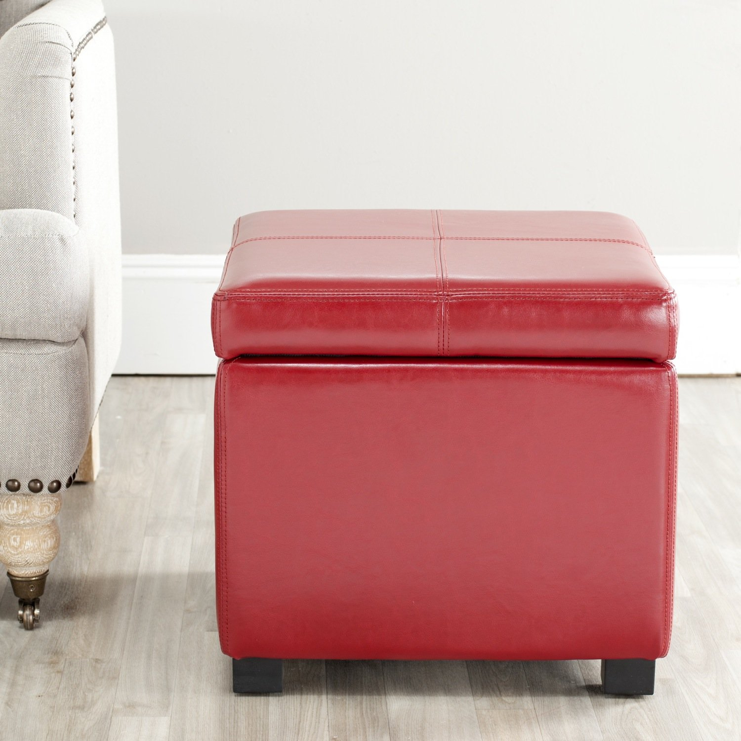 Captivating Amazon.com: Safavieh Hudson Collection Williamsburg Black Leather Square  Storage Ottoman: Kitchen U0026 Dining