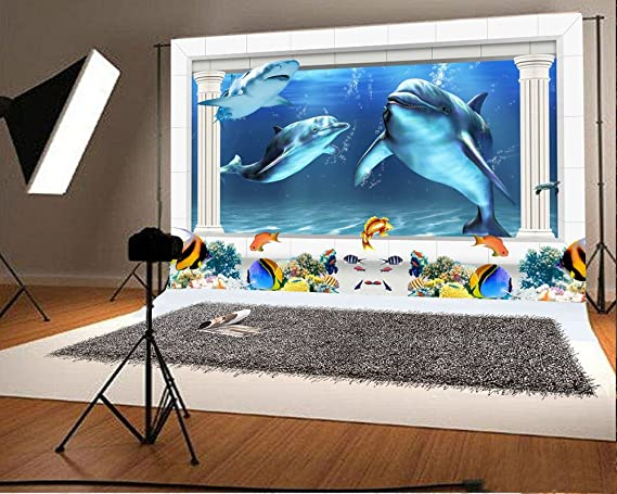 YongFoto 2x1,5m fondo de fotografía 3D acuario bajo el mar mundo delfín peces hogar TV sofá Decor paisaje artístico fondos para fotografía fotografía fotos ...
