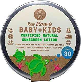 product image for Raw Elements Baby + Kids SPF 30 Organic Sunscreen Lotion Non-Nano Zinc Oxide, Reef-Safe, Cruelty-Free, Gentle and Moisturizing, Zero Waste Tin, 3oz