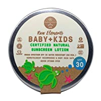 Raw Elements Baby + Kids SPF 30 Organic Sunscreen Lotion Non-Nano Zinc Oxide, Reef-Safe, Cruelty-Free, Gentle and Moisturizing, Zero Waste Tin, 3oz