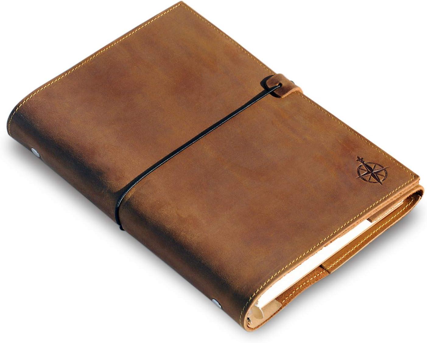 Cuaderno de Cuero A5 - Organizador De Carpeta De 6 Anillos Con Bolsillos - Folio De Cuero Genuino Hecho A Mano - Para Escritores, Planificadores, Viajeros. Hojas Sueltas | Diario de Cuero - 22x15cm